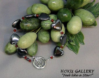 "Hematite Puff Heart Bracelet  - Hematite, Swarovski Red Magma, Sterling Silver Toggle Clasp - Size 8 1/4"" - Hand Crafted Artisan Jewelry"