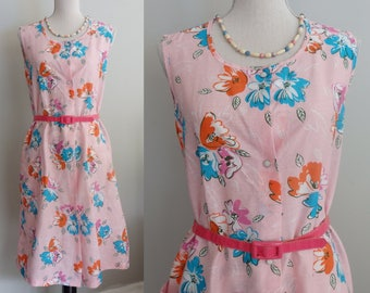 Vintage 50's Lucy style Cotton Candy Pink Floral Sleeveless Shift House Day Dress S-M