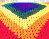 Christmas In July Sale Rainbow Baby Blanket - MADE TO ORDER Granny Square Bright Colored Throw - Stroller, Pram, Car Seat Blanket - Choose Y
