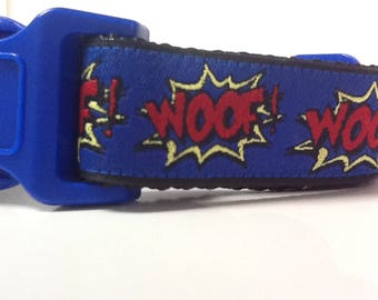 Dog Collar - Cartoon Woof Blue -  50% Profits to Dog Rescue