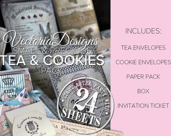 Small & Precious Tea and Cookies Pack Printable Tea Party Paper Crafting Crafts Digital Download - VDSPVI1650