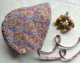 Bonnet, Baby Bonnet, Floral Bonnet, Cotton Bonnet, Handmade Bonnet, Brimmed Bonnet, Sun Hat