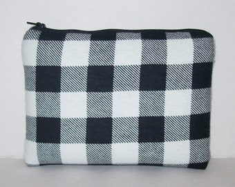"Padded Pipe Pouch, White Black Plaid, Pipe Case, Glass Pipe Bag, Stoner, Hipster, Grunge, Smoke Accessory, Zipper Pouch, 7.5"" x 6"" X LARGE"