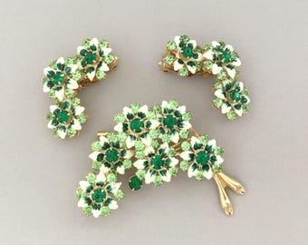 Green Rhinestone Flower Brooch Earrrings Set - Summer Jewelry Floral Brooch Set - Vintage Rhinestone Brooch Clip On Earrings - Enamel Flower