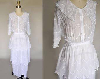 edwardian cotton dress | antique wedding gown | tiered layers, chevron stitching, collar