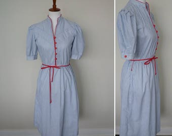 Vintage 80s does 40s Striped Secretary Dress/80s blue striped dress with red accents
