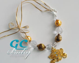 Golden Princess Carriage Bubblegum Necklace - Large Gold Rhinestone Pendant, Gumball Beads, Silver Crown Clasp, Ribbon