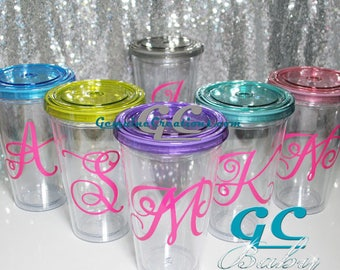 Custom Initial Clear Plastic Travel Cup - Any Color Letter