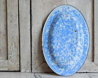 Vintage Blue Enamelware Platter, Molted Swirl Enamel Oval Plate, Farmhouse Antiques