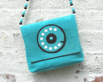 Handmade Suede Bag Leather Handbag Faux Suede Purse Shoulder Bag Unique Purse Blue Turquoise Bag Telephone Purse For Girl Sweet Sixteen Gift