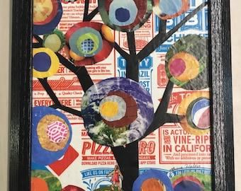 tree recycled art pizza box