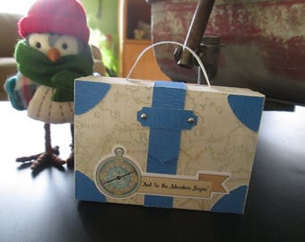 Vintage Compass Suitcase Favor Boxes set of 12 with Free Shipping