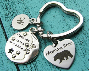 I love you to the moon and back keychain, Mama bear gift, Momma bear Christmas gift, wife gift, Mother's Day, Mommy birthday gift, under 25