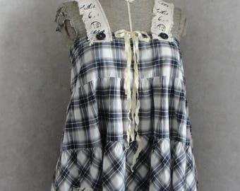 Upcycled boho tunic, Upcycled patchwork, upcycled pinafore, boho chic, boho tops, boho tunics, womens tunics, upcycled tunics