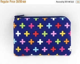 Summer SALE - Coin Purse, Small Zipper Pouch, Mini Wallet, Card Pouch, Gift ideas, Padded Pouch - Remix Cross in Blue