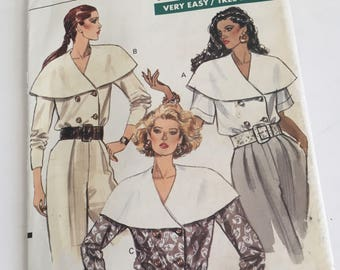90s Vogue Blouse Pattern UNCUT Very Easy Sizes 8 10 12, 14 16 18