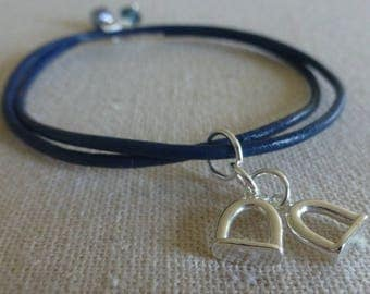 Horse Stirrup Charm Leather and Silver Bracelet