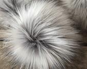 Silver Fox Faux Fur Pom Poms for Toques Beanies Hats Keychains Purse Fob Charm Vegan Fake Plush Super Soft Pile Craft Supply