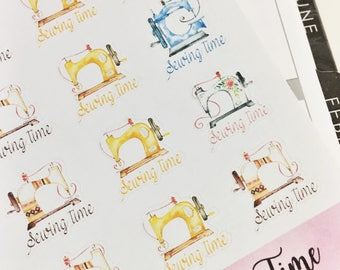 0035 Pretty Watercolor Sewing Machine Sewing Time Sheet of Stickers Planner Stickers Erin Condren Life Planner Happy Planner