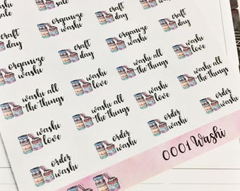 0001 Watercolor Washi Pile With Washi Phrases Sheet of Stickers Planner Stickers Erin Condren Life Planner Happy Planner Personal Planner