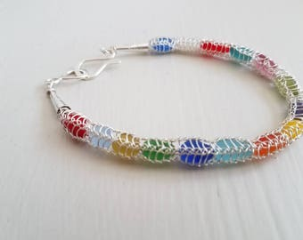 Bracelet Rare Genuine Rainbow sea glass and fine Silver wire knitted