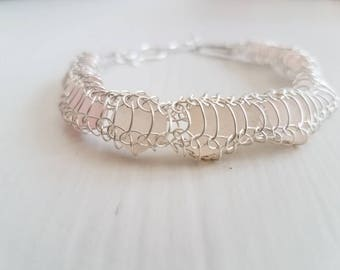 Bracelet Genuine Soft Pink Sea Glass and Silver Knitted Wire