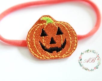 Halloween Headband -  Baby Pumpkin Headband - Girls Pumpkin Headband - Girls Halloween Headband