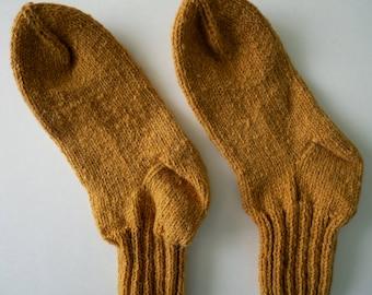 mustard yellow wool ankle socks