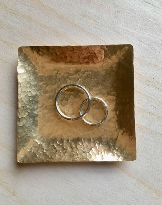 Square Brass ring Dish, Hand Hammered, gold jewelry dish