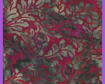 Leafy BATIK Fabric Watercolor Reds Grays Charcoal Remnant Quarter Yard