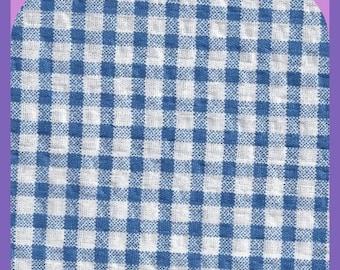 Blue White Gingham 1/8 Inch Square Fat Quarter Fabric Cotton Seersucker