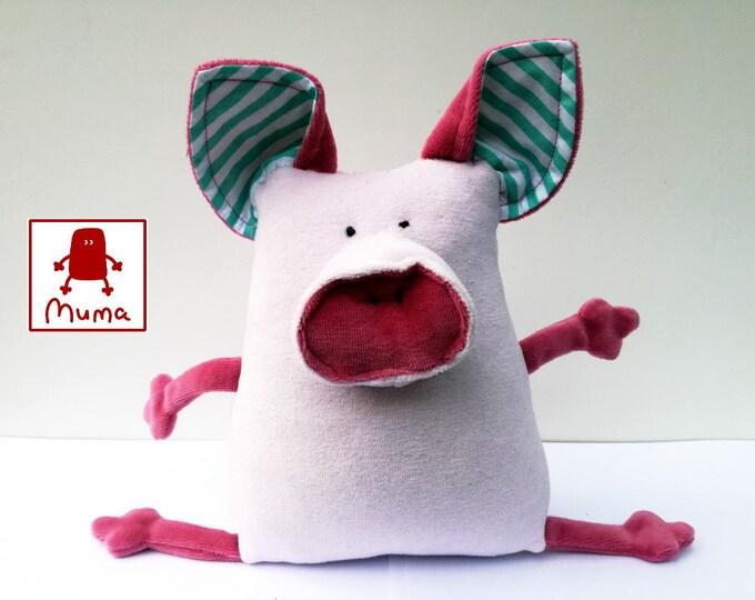 Muma Pink Piggy Plushie, Little Pocket Piglet Stuffie Toy, Funny Pig Pocket Plush