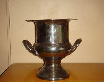 Vintage Silver Plate Champagne Bucket Handles Tarnished
