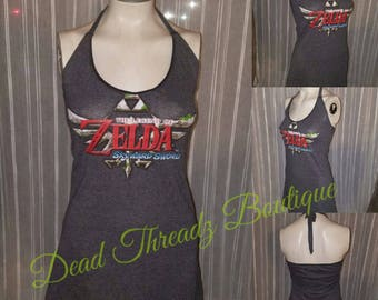 RECYCLED UPCYCLED Halter top dress Made from used licensed Zelda shirt size Small