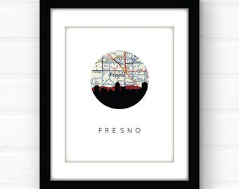 Fresno map art | Fresno California map print | California wall art | California art print | California home decor | Fresno CA art