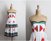 80s Victor Costa Pop Art Dress / Striped Color Blocked / Strapless Party Dress / Geometric Dress / Cocktail Dress / Rainbow / Size XXS-XS
