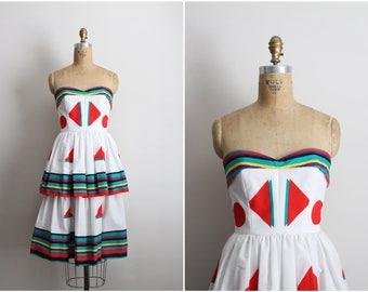 80s Victor Costa Pop Art Dress / Striped Color Blocked / Strapless Party Dress / Geometric Dress / Cocktail Dress / Size XXS-XS