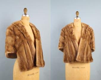 Vintage Wedding Fur Stole / Mink Fur Stole / 50s Hollywood Glam / 1950s / Caramel Brown Mink Fur Cape / Fur Coat / Fur Shawl / One Size