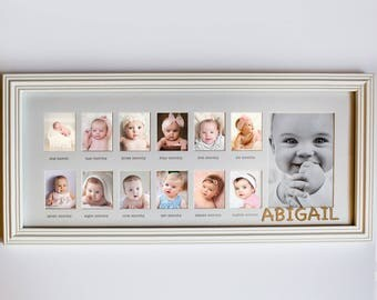 My First Year Personalized Frame, custom, wooden, baby gift, baby birthday, commemorative, picture frame -gfyV1156420