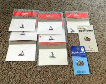 Vintage Appliques Lot of 9 Boats   NEW  Non Smoking Home   Sale Destash  07
