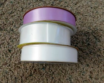18 yards Total  Ribbon Lot of 3  White Purple  Destash Sale
