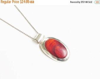 ON SALE 950 Sterling Peru Red Jasper Modernist Pendant Necklace