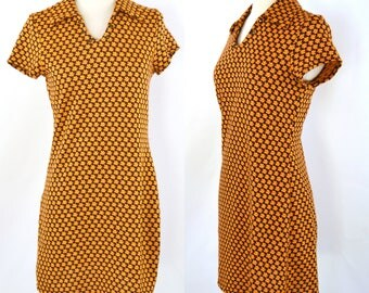 1990s Brown, Yellow and Orange Floral Print Mini Sheath Dress by 5 7 9