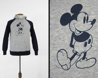 Vintage Mickey Mouse Hoodie 80s Sweatshirt Raglan Grey Blue Disney Made in USA - Medium
