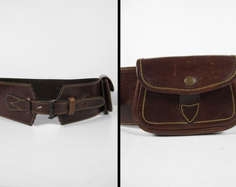 Vintage Leather Shooting Belt Hunting Bandolier Handmade Shell Pouch