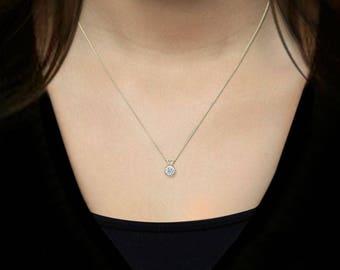 14k Genuine Sapphire  Bezel Pendant