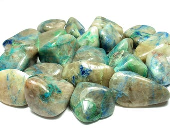 TUMBLED - (2) Medium/Large QUANTUM QUATTRO Silica Chrysocolla Crystals with Description Card - Healing Stone Reiki