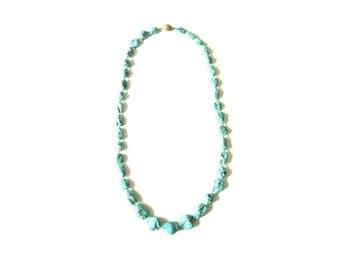 Beaded Stone Imitation Turquoise Nugget Necklace