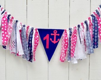 Nautical 1st birthday - Girl Nautical Birthday - summer birthday party - girl birthday banner - anchor birthday - nautical birthday party