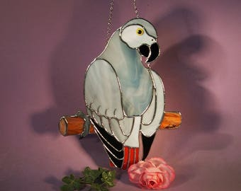 Stained Glass Suncatcher African Grey Parrot  (843)